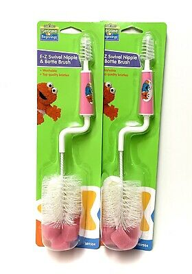 Sesame Street E-Z Swivel Nipple And Baby Bottle Brush Pink 2 Pack NEW