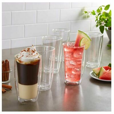 cb0d7fa9bdd Double Wall Beer Glass For Espresso Latte Cappuccino Insulated Clear 11.8oz  6pcs