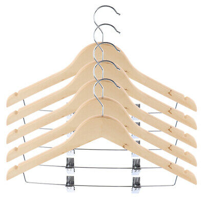 5PCS Wooden Hangers Coats Suit Garment Trouser Wardrobe Wood Hanger w/ Clips