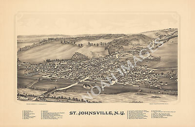 St Johnsville New York panorama map c1890 map 24x16
