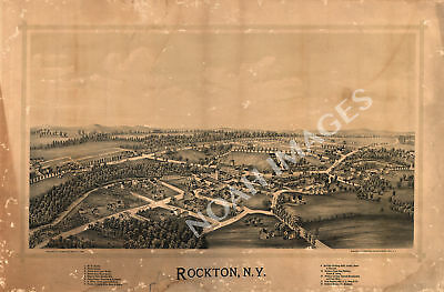 Rockton New York panorama map c1890 map 24x16