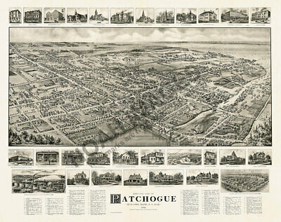 Patchogue NY c1906 panoramic map 30x24