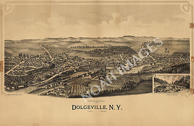 Dolgeville New York panorama map c1890 map 24x16