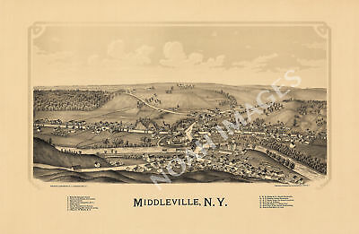 Middleville New York panorama map c1890 map 24x16