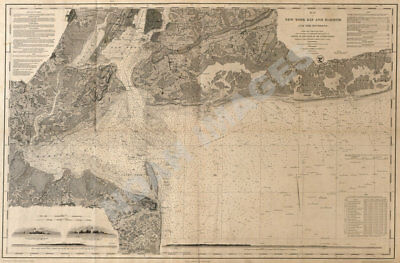 Map of New York Bay and Harbor c1845 repro 36x24