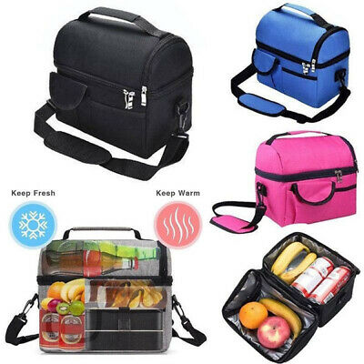 Insulated Lunch Box Tote Men Women Travel Hot Cold Food Cooler Thermal Bag UK