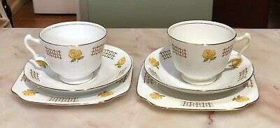 2 X ANTIQUE VINTAGE TRIOs  CUP SAUCER PLATE CSP BELL CHINA HAND PAINTED