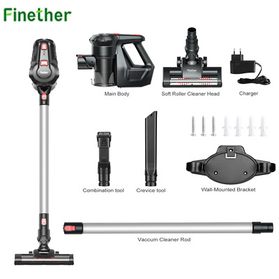 Finether Aspirapolvere Scopa Senza Sacco 2in1 Vacuum Cleaner per più superfici