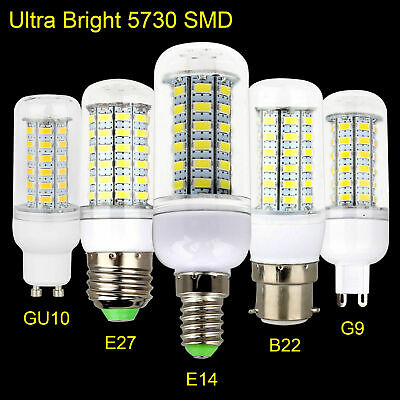 1X 10X LED Corn Bulbs E27 ES B22 BC E14 G9 GU10 5730 SMD White Lamp 220V Light M