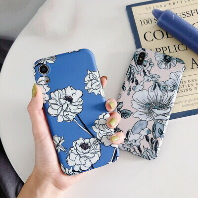 Vintage Retro Flower Soft Matte IMD Case Cover For iPhone XR XS Max X 8 7 6 Plus