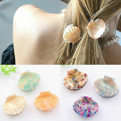 Women Girls Sea Shell Hair Clip Claw Acetate Resin Grips Hairpin Accessories