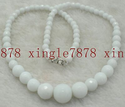 Natural 6-14mm Faceted White Jade Gemstone Beads Necklace 18''AA
