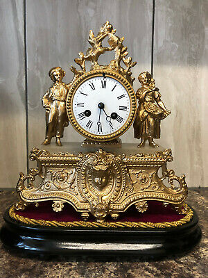 Antique Clock - Japy Freres - French Clock - Spelter Figural Clock Mantel