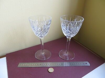 Large Pair Signed Stuart Crystal Wine or Water Glass Goblets Glasses (20cm Tall)