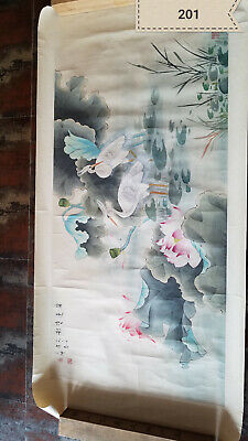 Chen Zhifo Lotus Crane Antique Painting