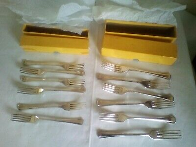 12 Vintage Ryals Dinner + Table Forks Fluted Symphony Silver Plated EPNS A1