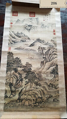 Wen  zhengming  Mountain Water Tablet Antique Painting