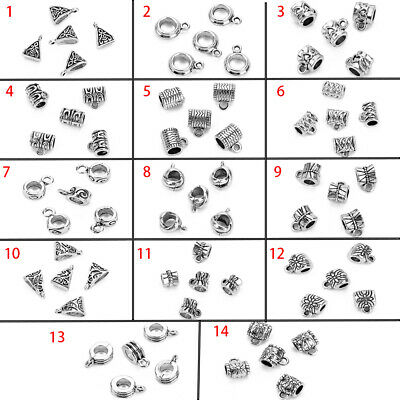 20Pcs Antique Silver Connector Spacer Bail Beads Charms Pendants Jewelry Finding