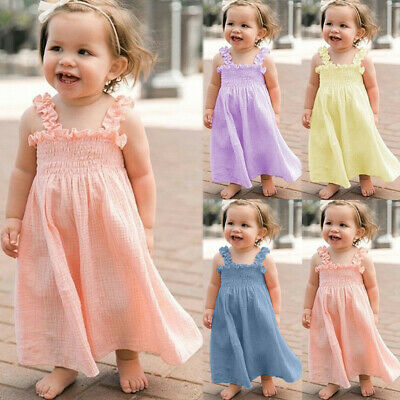 Toddler Kids Baby Girls Party Ruffle Dress Sleeveless Linen Strap Casual Dresses