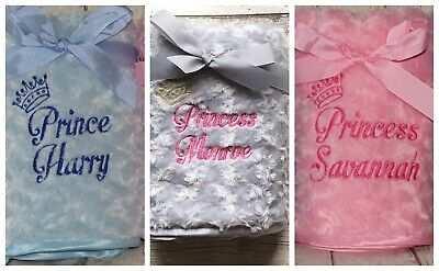 Personalised Luxury Baby Blanket Princess Prince Embroidered Fluffy Soft Gift
