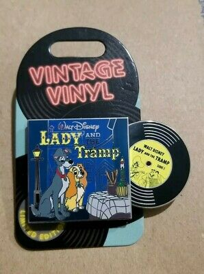 Disney Pin Of The Month Vintage Vinyl Lady And The Tramp Pin LE 3000