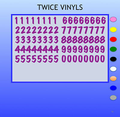STICKY NUMBERS 0 to 9 MARKER FELTPEN 15mm high vinyl set - any colour