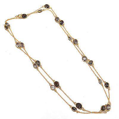 Solid 925 Sterling Silver TrendyModern long chain Rutile Quartz Jewelry necklace