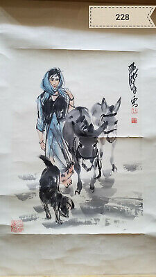 Huang Yu Characters donkey pieces Antique Painting