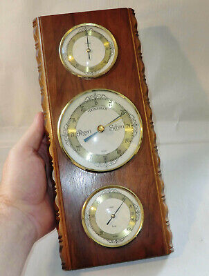 WETTERSTATION vertikal 1970er SUNDO West Germany BAROMETER Thermo- Hygrometer