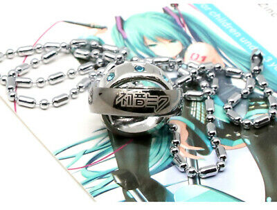 Anime Hatsune Miku Double Ring Pendant Necklace Alloy Jewelry Boys Girls Cosplay