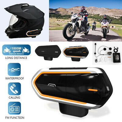 1000M Sans Fil bluetooth Interphone Casque de Moto Intercom Headset BT FM GP