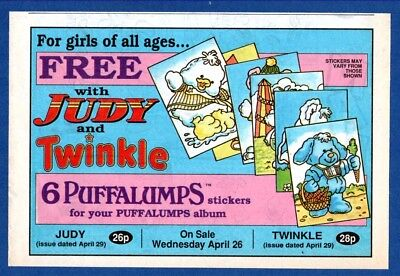 Free PUFFALUMPS STICKERS to Collect,  JUDY & TWINKLE  (1990 Advertisement)  CC