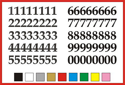 STICKY NUMBERS 0 to 9 Serif 15mm high vinyl set - any colour