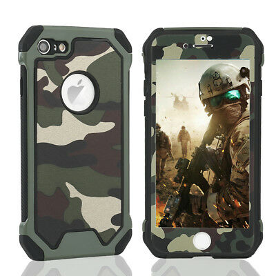 Case For iPhone XR XS Max 6S 7 8 Plus 360°Camo Heavy Duty Protective Glass Cover