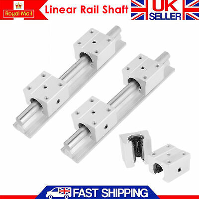 2Pcs SBR12 200mm Linear Slide Guide Shaft Rail + 4Pcs Bearing Block For  DIY CNC