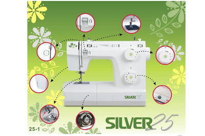 Hardly Used Boxed Silver 25-1 Sewing Machine Viscount 25 th zippers quilting ...