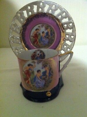 Royal Halsley Very Fine Tea Cup & Saucer-full size-pink with cherubs-3 foote