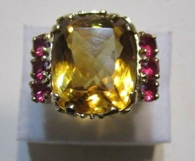Vintage Art Deco 10K Yellow Gold 14.22 ctw Citrine & .66 ctw Ruby Ring Sz 7.5