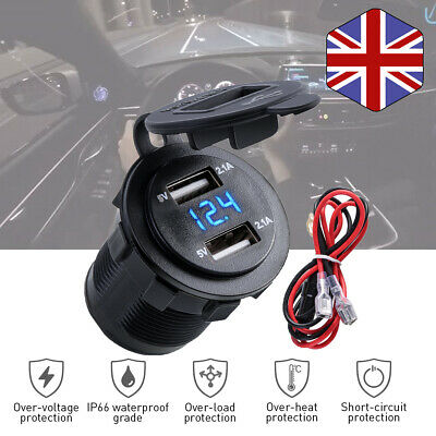 12-24V 4.2A  Dual USB Car Charger Adapter  Waterproof Socket with LED Voltmeter