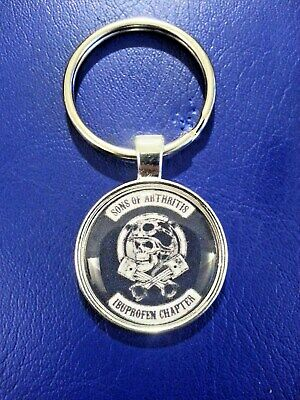 KEY FOB. SONS OF ARTHRITIS IBUPROFEN CHAPTER FAUX LEATHER KEY RING