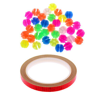 Bicycle Wheel Spoke Mini Beads (36 Pcs)+Bike Reflective Wheel Stickers Red