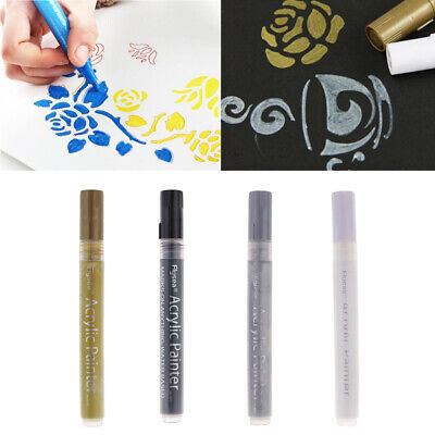 4Pc Acrylic Paint Markers For Glass Metal Ceramic Porcelain Rock Wood Fabric
