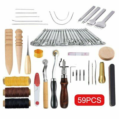 59 Pcs Leather Craft Hand Tools Kit for Hand Sewing Stitching Saddle Making TO