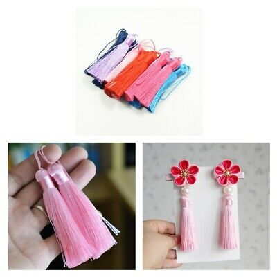 12x Mixed Color Silky Tassels Charms Pendant for Sewing Hanging Decoration