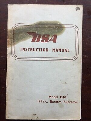 BSA Instruction Manual Model D10 175 Cc Bantam Supreme
