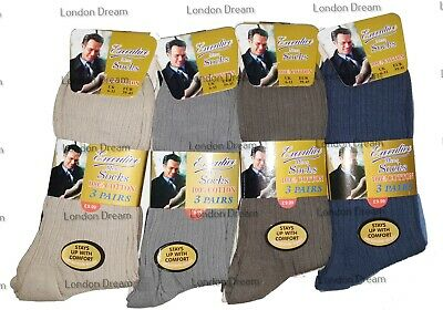 12 Pairs Men's 100% Cotton Plain Colours Ribbed Quailty Socks Everyday UK 6-11