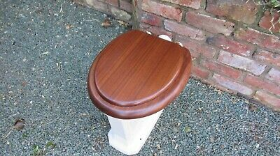 Antique High Level Mahogany Wood Toilet Seat with Lid - Brass Brackets