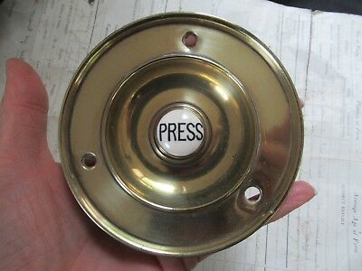 "Large 4"" Antique Brass Electric Door Bell Push press (Reclaimed, restored)"