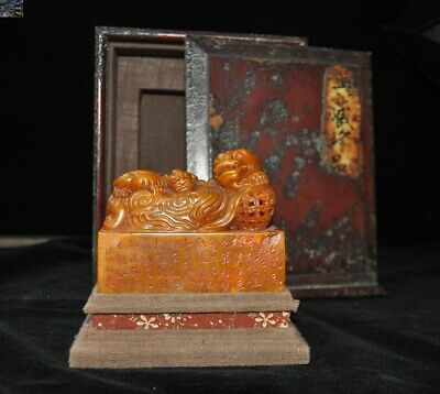 Noble Top Dynasty Natural Tianhuang Shoushan Stone Dragon Seal Stamp Signet Box