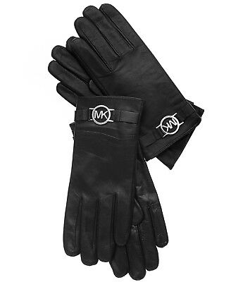 New Women's Michael Kors Black Leather with Logo Gloves with Touch Tips M, L
